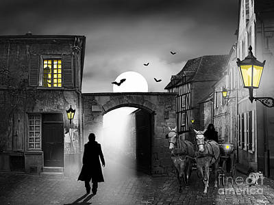 Street Lamps Digital Art - The Visit At Midnight by Monika Juengling