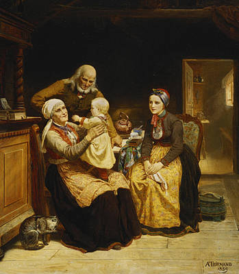 Interior Scene Painting - The Visit To The Grandparents by Adolph Tidemand