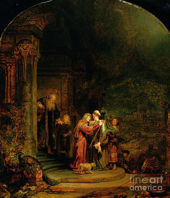Rembrandt Painting - The Visitation by  Rembrandt Harmensz van Rijn