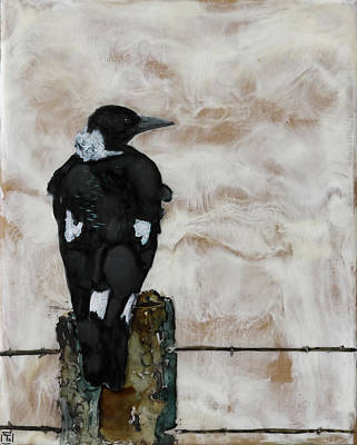 Magpies Mixed Media - The Visitor by Totally Talliesen