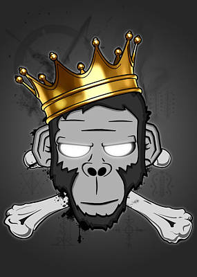 Monkey Digital Art - The Voodoo King by Nicklas Gustafsson