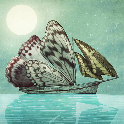Butterflies Drawing - The Voyage by Eric Fan