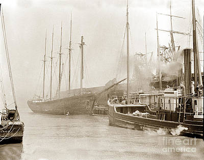 Photograph - The W. H. Marston Is A Five-masted Schooner by California Views Archives Mr Pat Hathaway Archives