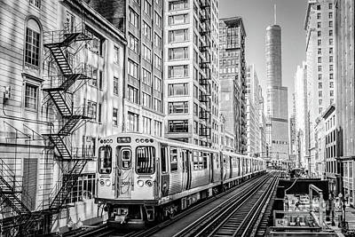 The Wabash L Train In Black And White Art Print