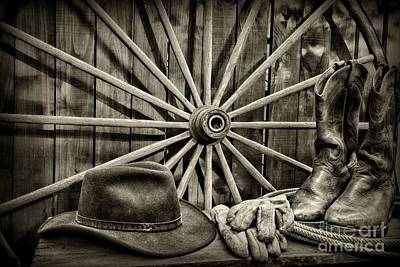 Cowboy Hat Photograph - The Wagon Master In Black And White by Paul Ward