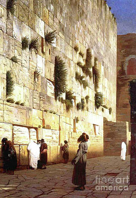 Israeli Painting - The Wailing Wall, Jerusalem, 1869 by Jean Leon Gerome