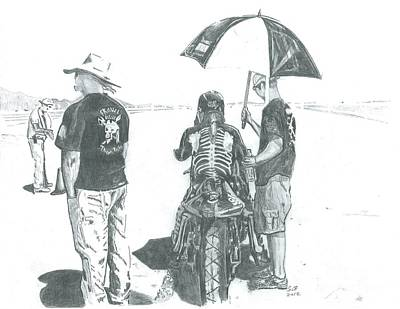 Salt Flats Drawing - The Wait... by Stacey Becker