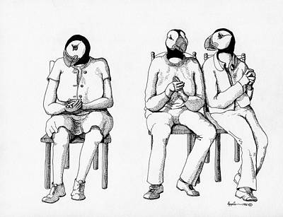 Puffin Drawing - The Waiting Room by Linda Apple