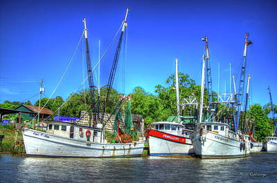 The Waiting Shrimp Boats Darien Georgia Art Print