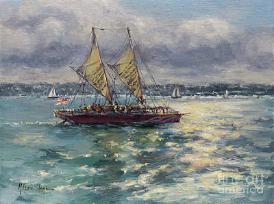 Painting - The Waka, A Pacific Voyaging Canoe by Kristen Olson Stone