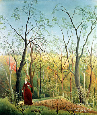 Park Scene Painting - The Walk In The Forest by Henri Rousseau