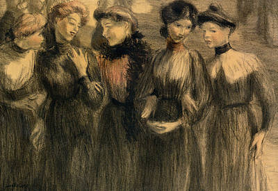 Group Of Women Talking Painting - The Walk by Theophile Alexandre Steinlen