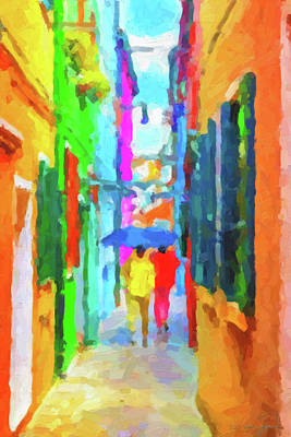 Tourist Attraction Digital Art - The Walkabouts - Good Morning, Italy by Serge Averbukh