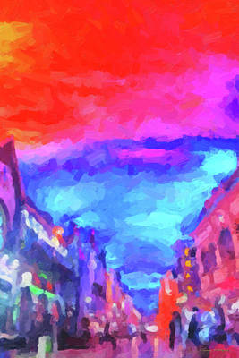 Digital Art - The Walkabouts - Sunset In Chinatown by Serge Averbukh