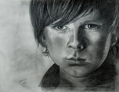 Grime Drawing - The Walking Dead - Carl by Gracja Waniewska