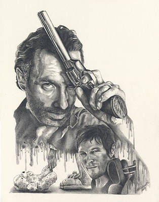 Grime Drawing - The Walking Dead by Heather Andrewski