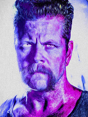 The Walking Dead Michael Cudlitz Sgt. Abraham Ford Painted Art Print by David Haskett