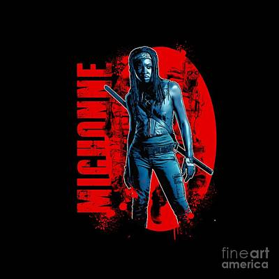 Undead Drawing - The Walking Dead - Michonne - Back To The Comic Book - The Walking Dead Amc - Zombie Killer by Paul Telling