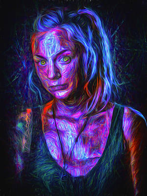Photograph - The Walking Dead Painted Emily Kinney Beth Greene by David Haskett II