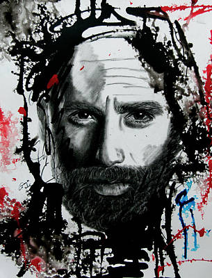 Grime Drawing - The Walking Dead - Rick #2 by Gracja Waniewska