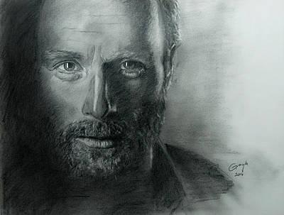 Grime Drawing - The Walking Dead - Rick by Gracja Waniewska