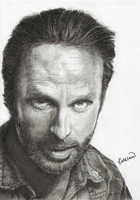 Kathleen Drawing - The Walking Dead Rick by Kathleen Wong