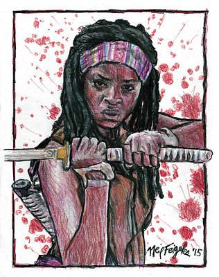 Danai Gurira Drawing - The Walking Dead's Michonne by Neil Feigeles