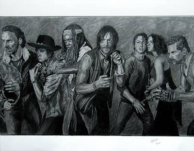Grime Drawing - The Walking Dead - Group by Gracja Waniewska