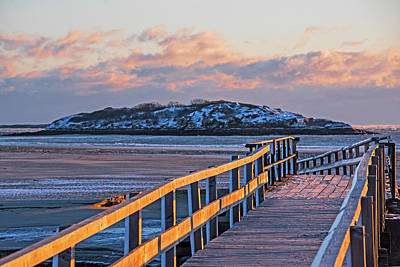 Photograph - The Walkway To Salt Island Good Harbor Beach Gloucester Ma In Winter by Toby McGuire