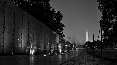 Photograph - The Wall At Night In Black And White by Greg Mimbs