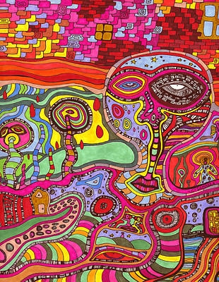 Visionary Art Drawing - The Wall by Cristine Cambrea
