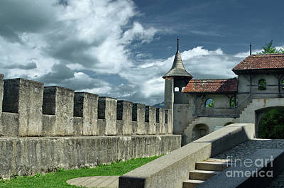 Photograph - the wall of Gruyeres by Michelle Meenawong