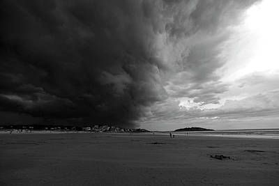Photograph - The Wall Of The Storm Good Harbor Beach Gloucester Ma Black And White by Toby McGuire