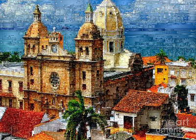 Digital Art - The Walled City In Cartagena De Indias Colombia by Rafael Salazar