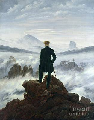 The Wanderer Above The Sea Of Fog Print by Caspar David Friedrich