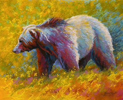 Fishing Painting - The Wandering One - Grizzly Bear by Marion Rose