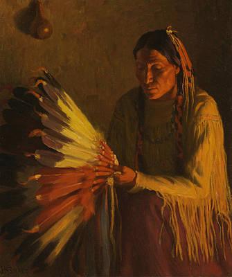 Painting - The War Bonnet by Joseph Henry Sharp