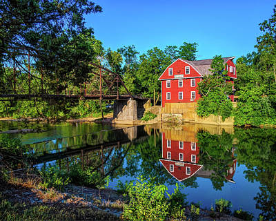 Northwest Photograph - The War Eagle Arkansas Mill And Bridge IIi - Northwest Arkansas by Gregory Ballos