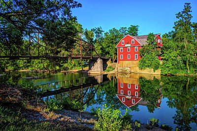 The War Eagle Arkansas Mill And Bridge - Northwest Arkansas Art Print