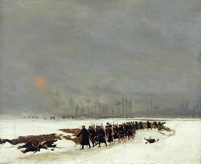 1870-71 Painting - The War Of 1870 An Infantry Column On Their Way To A Raid by Jean-Baptiste Edouard Detaille
