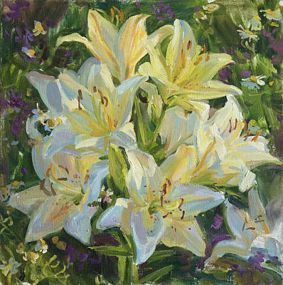 Lilies Royalty-Free and Rights-Managed Images - The warm July evening by Victoria Kharchenko