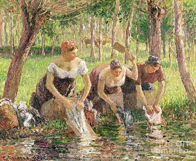 Riverbank Painting - The Washerwomen by Camille Pissarro