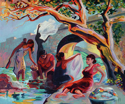 Painting - The Washerwomen / Las Lavanderas by Ben Morales-Correa