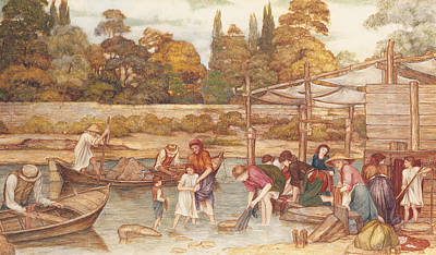 People Drawing - The Washing Place by John Roddam Spencer Stanhope