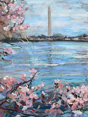 The Washington Monument At Cherry Blossom Festival Painting Original by Donna Tuten