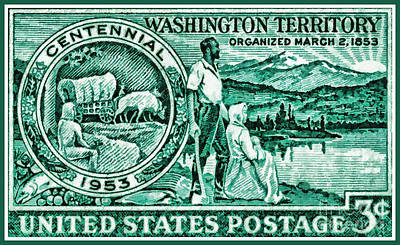 Pioneer Woman Painting - The Washington Territory Stamp by Lanjee Chee