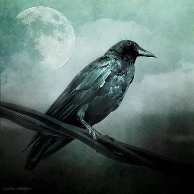 The Watcher Surreal Raven Crow Moon And Clouds Art Print
