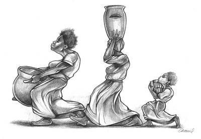 Hop Drawing - The Water Bearers by Michael Colbert