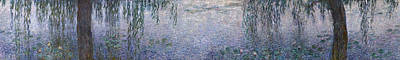 Weeping Painting - The Water Lilies, Clear Morning With Willows by Claude Monet