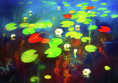 Mixed Media - The Water Lily Pond by Georgiana Romanovna